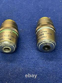 2 Pcs Nikon Plan Fluor ELWD (40x /. 60 20X/0.45) DIC M/N1 Microscope Objectives