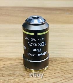 Nikon CFI Plan 10x/0.25 Microscope Objective Eclipse 50 55i E200 E400 E600 Ci