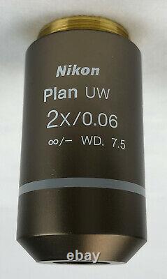Nikon CFI Plan UW 2X/0.06 WD 7.5 Microscope Objective M25 Thread 105% Refund