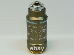 Nikon Plan 40X/0.65 /0.17 WD 0.57 Microscope Objective Clear Optics