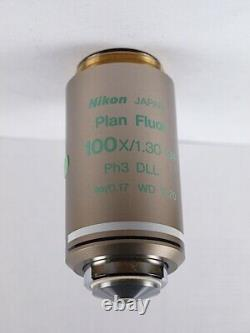 Nikon Plan FLUOR 100x Oil Ph3 DLL Phase CFI Eclipse Microscope Objective
