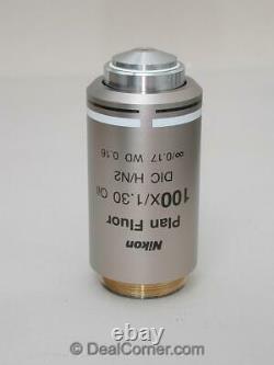 Nikon Plan Fluor 100x Oil DIC H/N2 Eclipse Microscope Infinity Objective, Mint