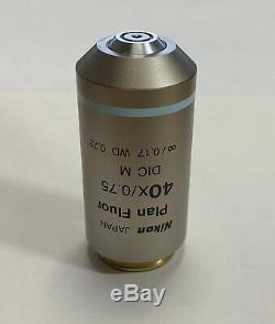 Nikon Plan Fluor 40x /. 75 /0.17 DIC M Eclipse Microscope Objective Eclipse