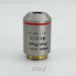 Nikon Plan Fluor 4x/0.13 Wd 17.1 Cfi Microscope Objective Lens