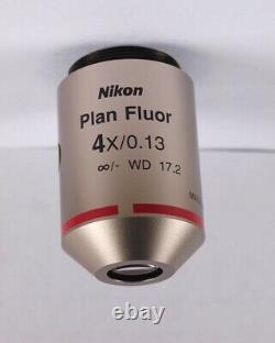 Nikon Plan Fluor 4x /. 13 Eclipse Microscope Objective